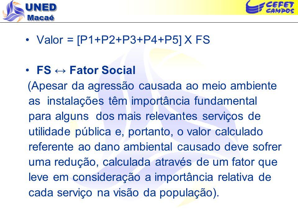 Valor = [P1+P2+P3+P4+P5] X FS FS ↔ Fator Social